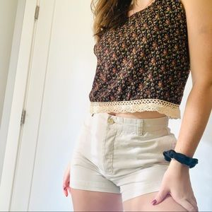 Pacsun LA hearts cropped floral top with lace